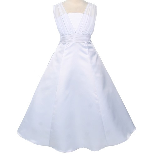 A-line Floor-Length Straps Bowknot Flower Girl Dress