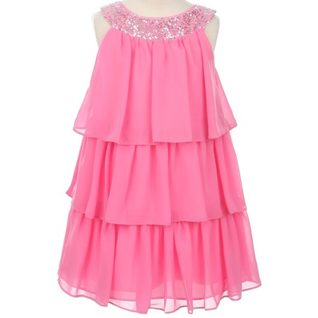 Amazing A-line Scoop Knee-length Tiered Sequins Flower Girl Dress