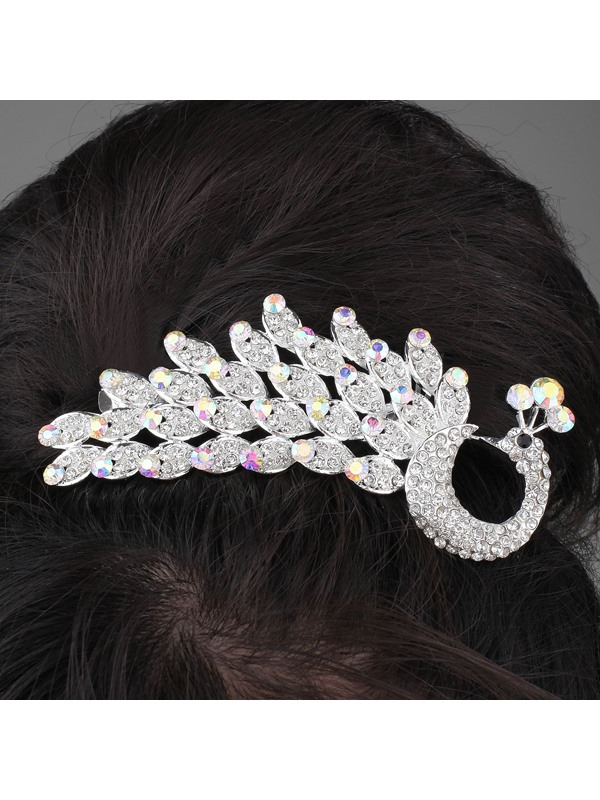 Elegant Alloy and Rhinestone Peacock Tiara & Headpiece-HC