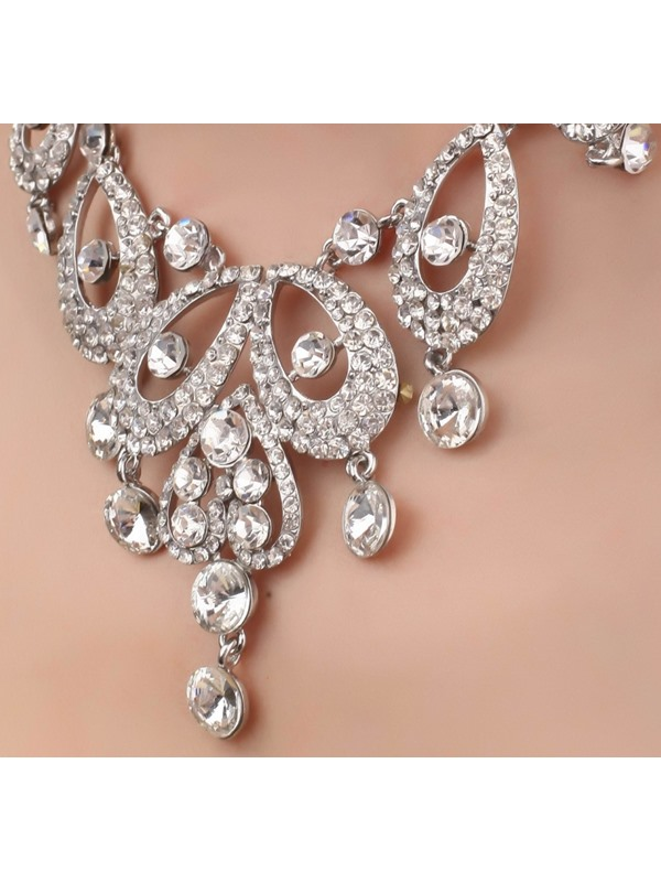 Delicate Heart and Waterdrop Shaped Alloy Necklace with Rhinestone-HC