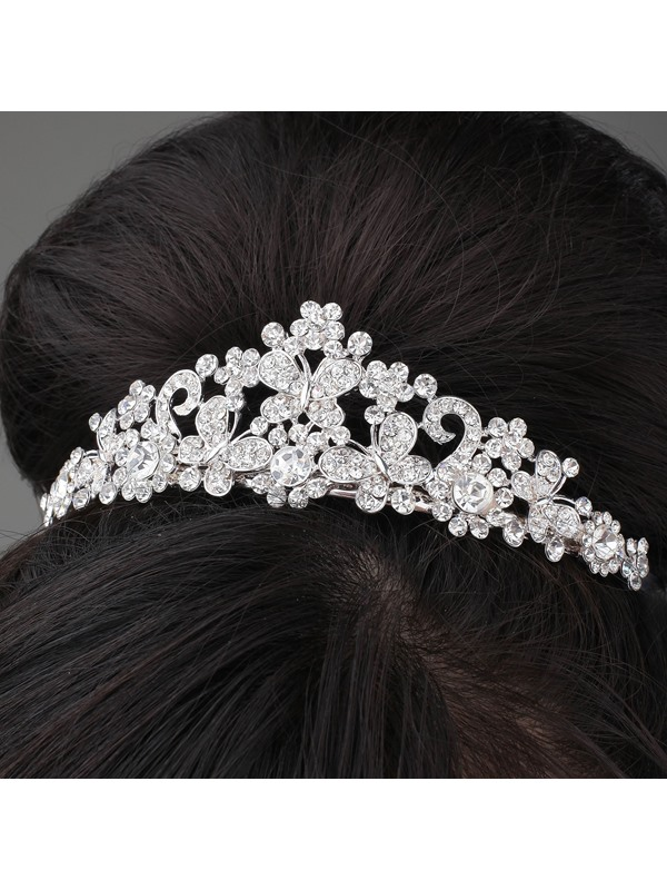 Cute Butterfly Shaped Alloy and Rhinestone Tiara & Headpiece-HC