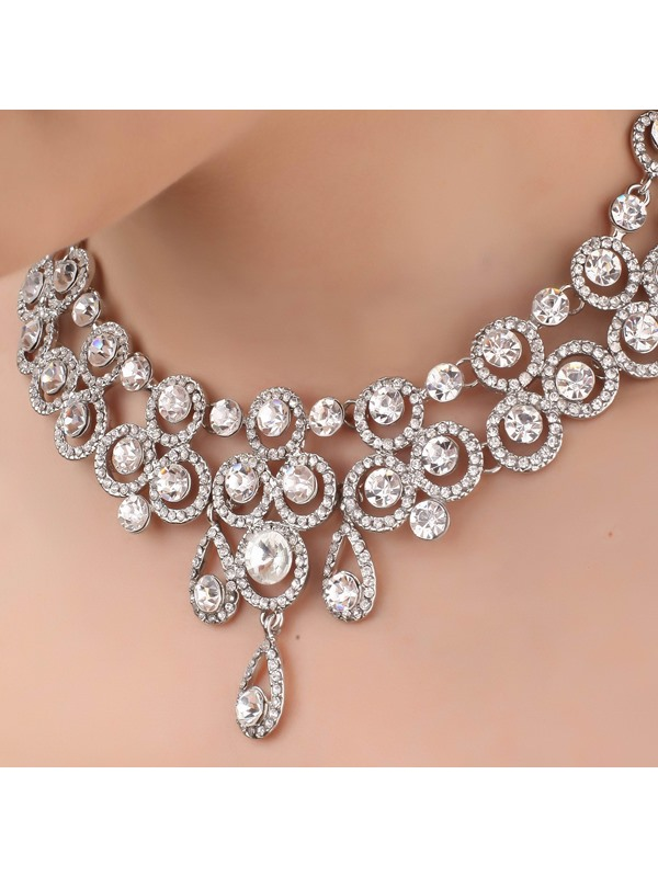 Bright Ring and Waterdrop Shaped Alloy and Rhinestone Necklace-HC