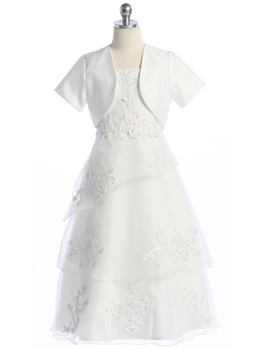 New Style 2-Piece A-line Appliques Tiered Flower Girl Dress