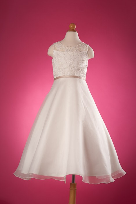 A-Line Tea-Length Appliques Flower Girl Dress