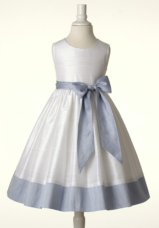Cute Ball Gown Scoop Sash Tea-length Flower Girl Dress