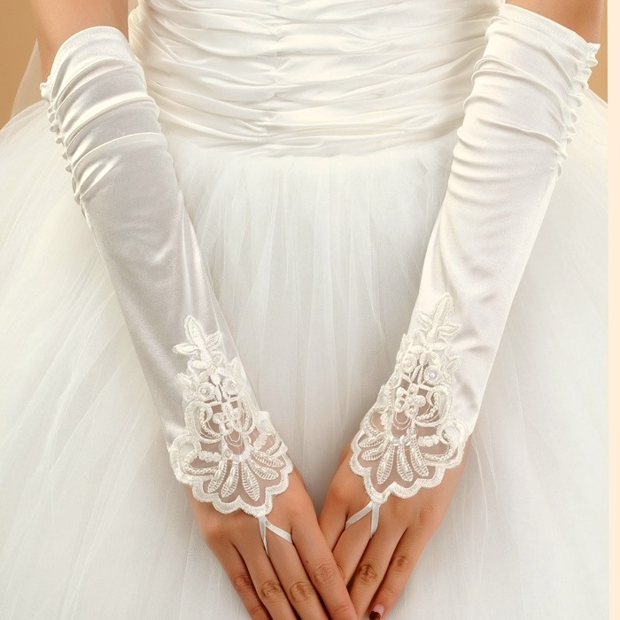 Delicate Long Fingerless Wrinkle Wedding Gloves(4colors)