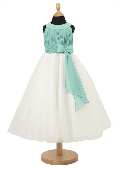 Glamorous A-Line Scoop Bowknot Floor-length Flower Girl Dress