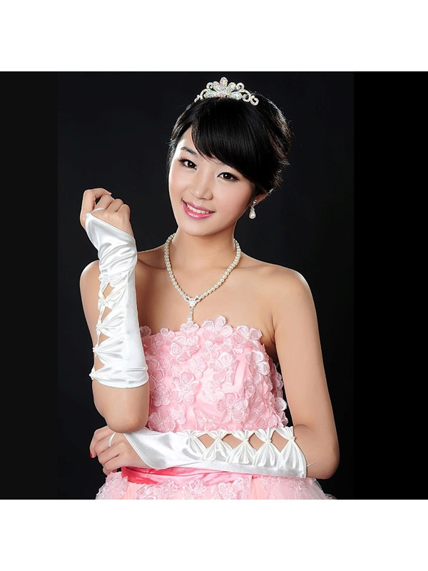 Pretty Fingerless Bowknot Shaped Wedding Gloves(white,black)
