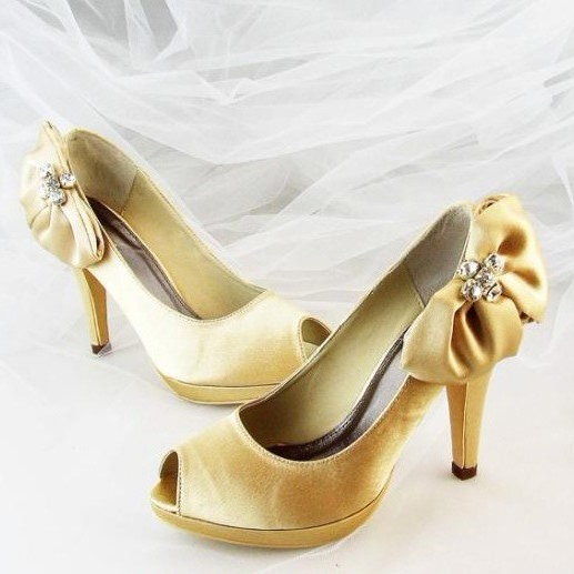 Satin Bowknots Peep-Toe Wedding Shoes
