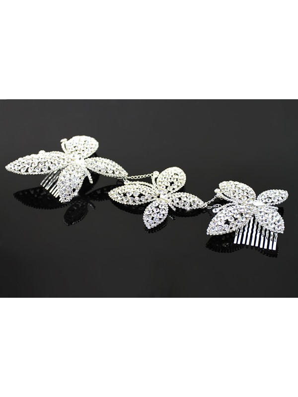 Charming Butterfly Shaped Alloy with Rhinestone Wedding Bridal Tiara