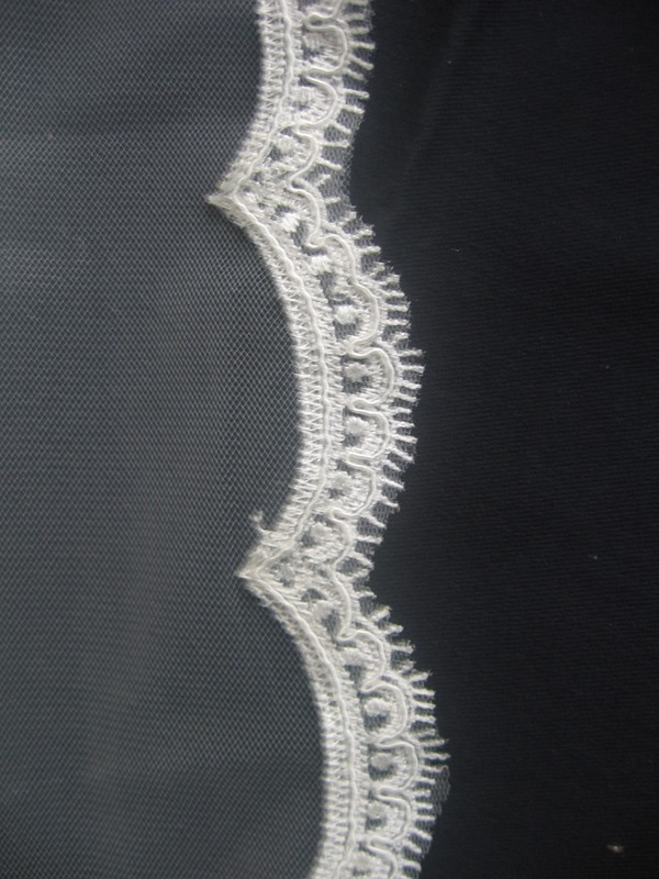Elbow Wedding Bridal Veil Lace Applique Edge
