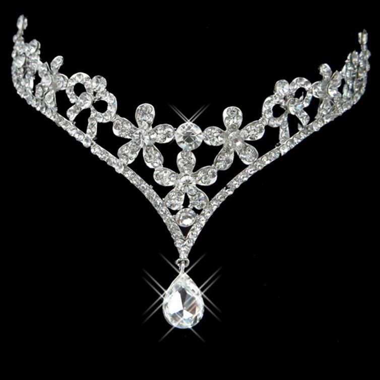 Glamorous Alloy with Rhinestone Flower Water Drop Wedding Bridal Tiara