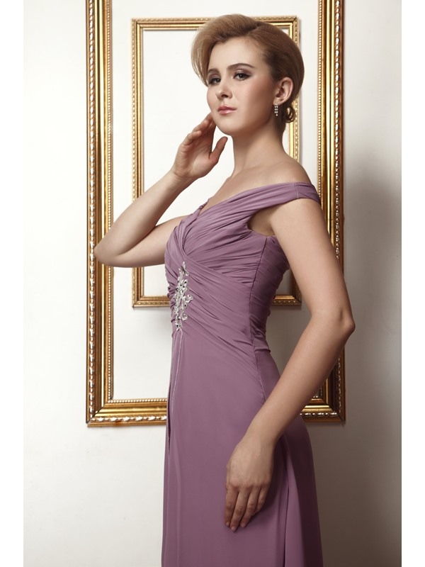 Elegant Appliques Button A-Line Off-the-Shoulder Floor-Length Alina's Mother of the Bride Dress