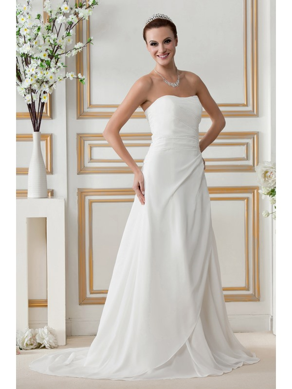 Plain A line Strapless Chapel Train Lace up Gerogia's Wedding Dress