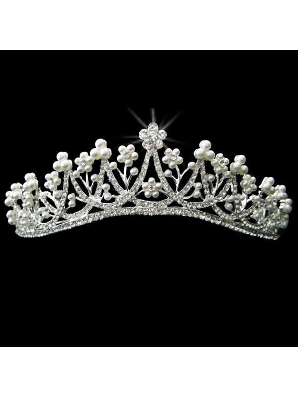Alloy with Pretty Rhinestone and Pearl Wedding Bridal Tiara