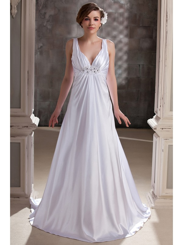 Elegant Empire Straps V-neck Chapel Train Pleats Daria's Wedding Dress