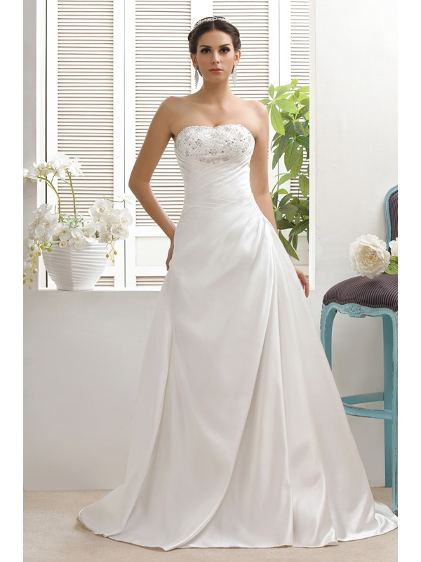 Attractive A-Line Sweetheart Chapel Taline's Beaded Wedding Dress
