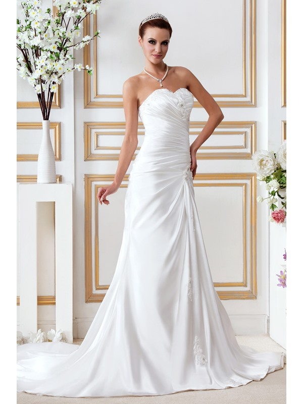 Sweetheart Appliques Sequins Trumpet Wedding Dress(Free Shipping)