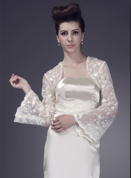 Graceful Long Sleeve Lace Wedding Jacket