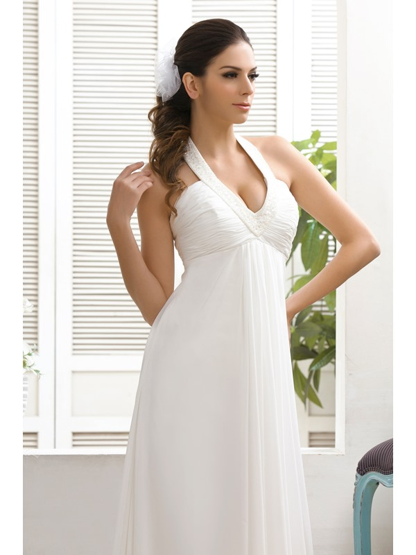 Empire Waist Court Train Halter Beach Wedding Dress