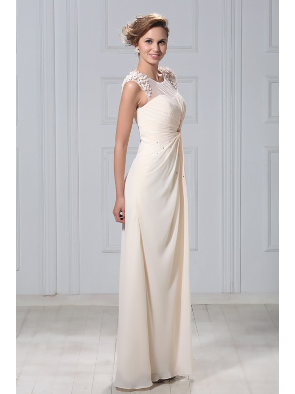 Gorgeous A-Line Beaded Appliques Tulle Neck Long Mother of the Bride Dress