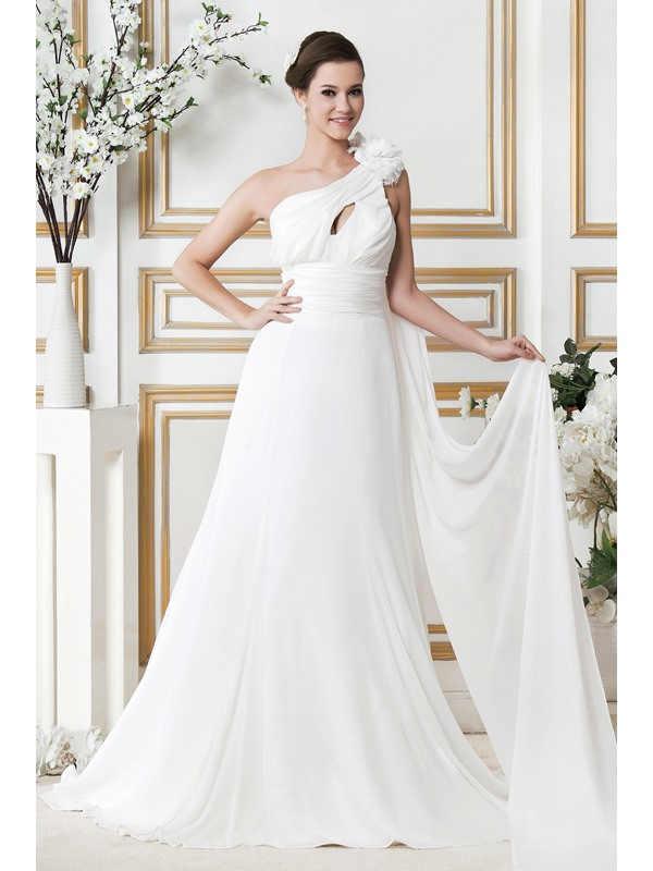 Gorgeous Empire One-Shoulder Chapel Flowers Sandra's Wedding Dress