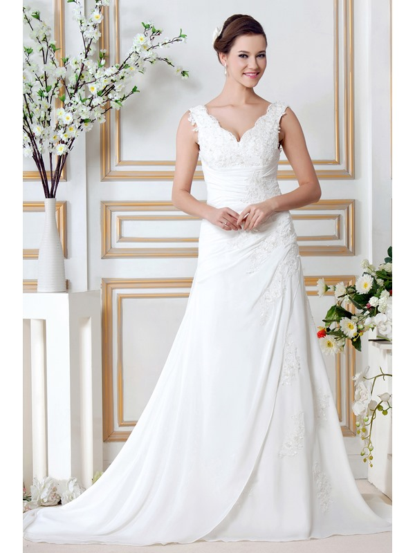 Classical A-Line Appliques V-Neck Chapel Sandra's Wedding Dress(Free Shipping)