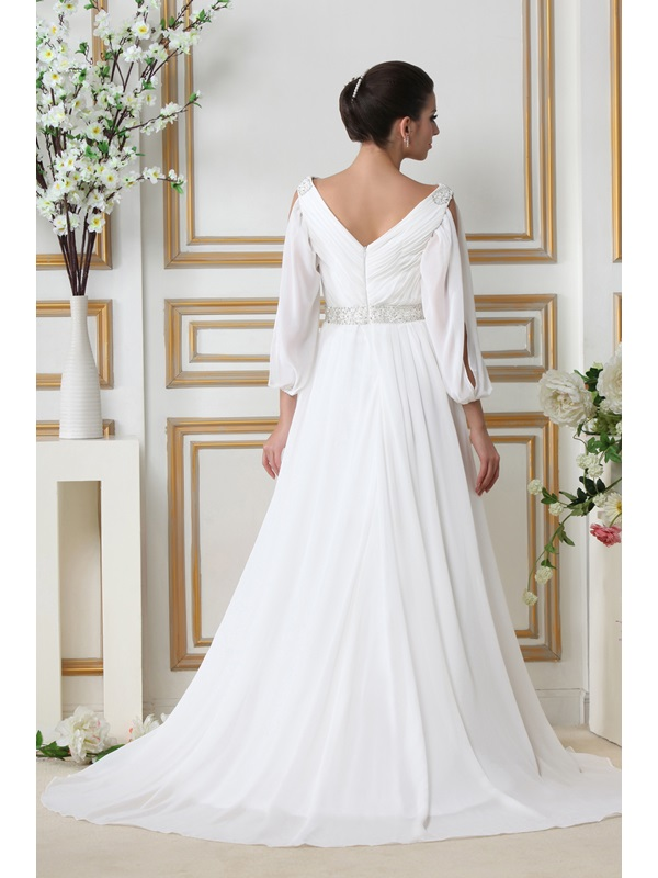 Glamorous 3/4-Length Empire V-neck Court Train Sleeves Taline's Wedding Dress(Free Shipping)
