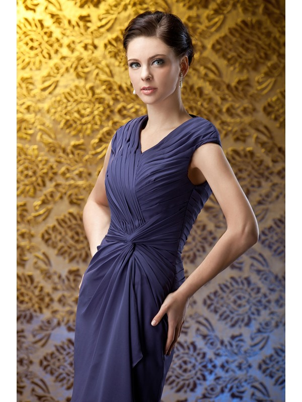 Ruched Column Knee-Length Mother of The Bride Dress