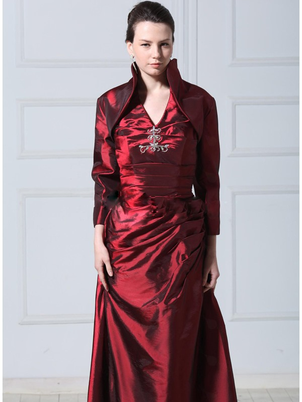 Long Sleeve Deep Claret-Red Wedding Jacket/Wraps