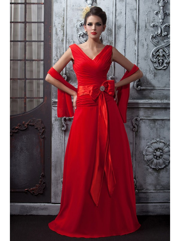 Floor Length A-Line Ruched V-Neck Red Taline's Long Bridesmaid Dress With Shawl