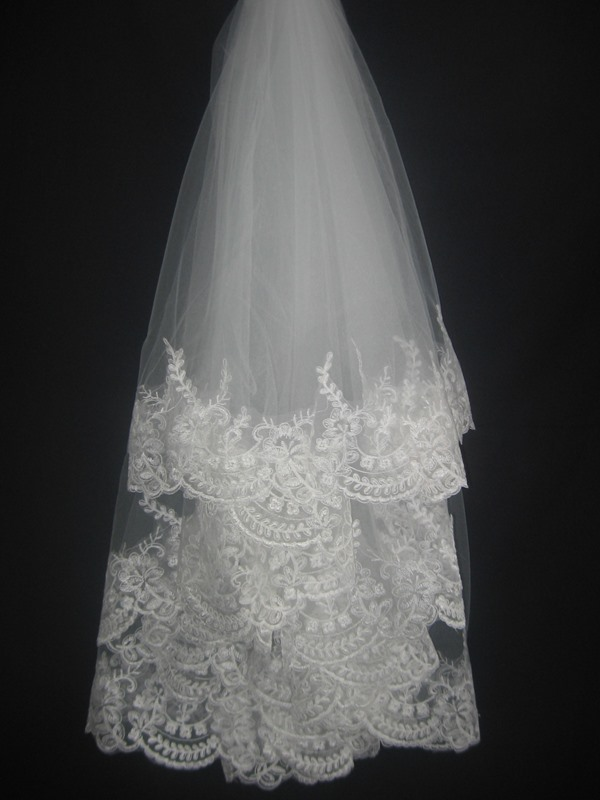 White Tulle Lace Applique Edge Wedding Bridal Veil