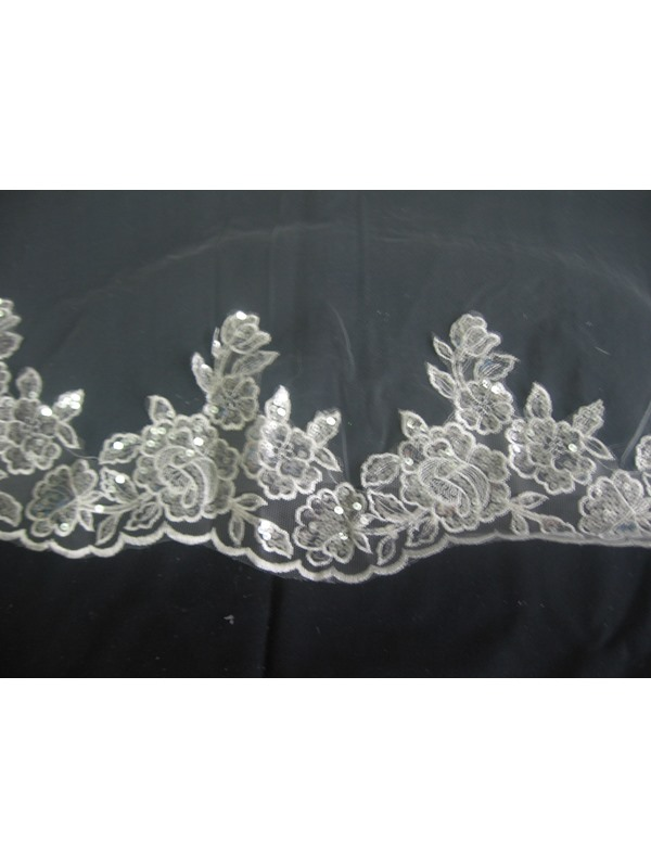 Gorgeous Fingertip Length Lace Flowery Edge Wedding Bridal Veil with Sequins