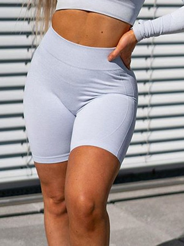 Solid Quick Dry Nylon Seamless Joint Shorts Yoga Pants