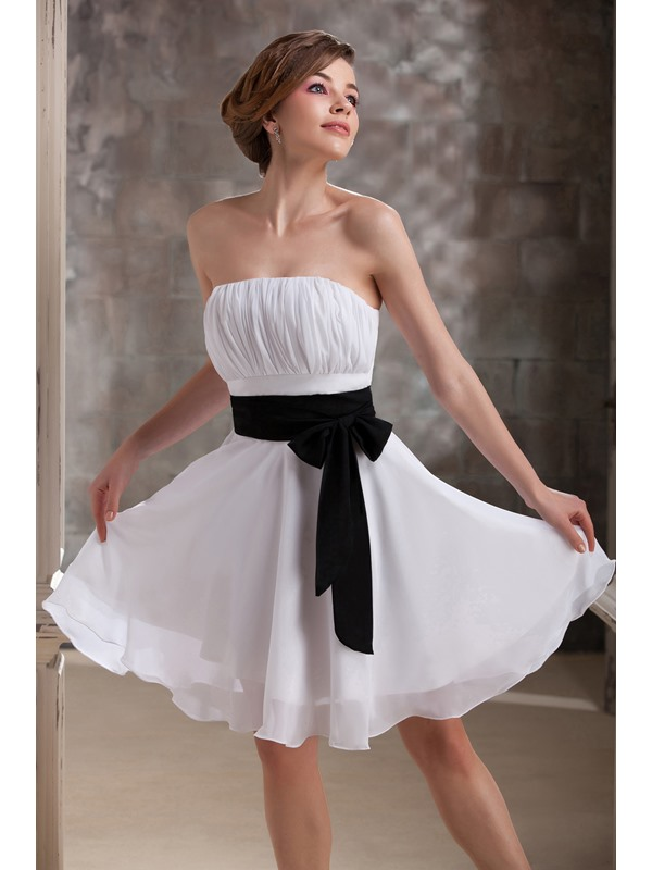 Ruched Sashes A-Line Strapless Short Daria's Bridesmaid Dress(Free Shipping)