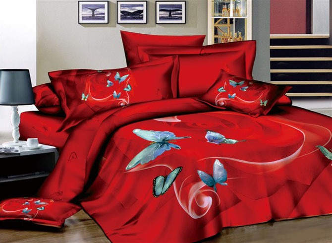 Sexy Red 4 Piece Cotton Bedding Sets with Butterflies