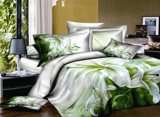 Fresh Perfume Lily Printed 4-Piece 100% Cotton Bedding Set(Free Shipping)