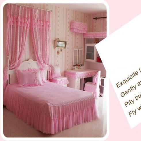 Princess Pastoral Pink Floral Bowknot 100% Cotton 4 Pieces Bedding Set(Free Shipping)