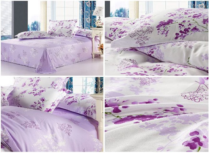 Pastoral Purple Floral 100% Cotton Twill 4 Piece Bedding Sets