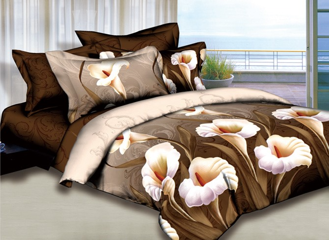 White Lily Printed 4 Piece 100% Cotton Bedding Sets(Free Shipping)