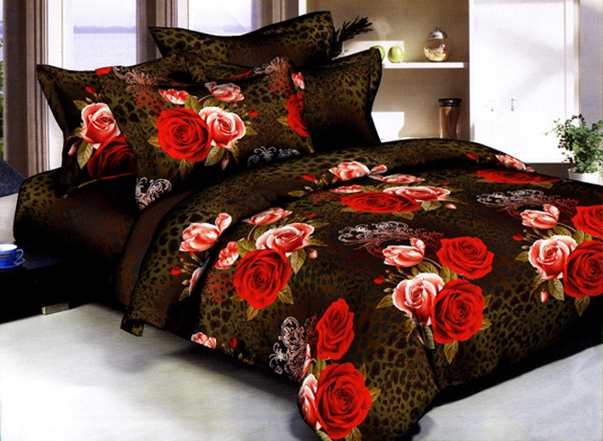 Rose Blossoming Printed 4 Pieces Top Grade Comforter Bedding Set(Free Shipping)