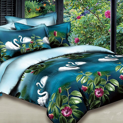 Royal Blue Printed 4 Piece Bedding with Swan Lake and Flower (Free Shipping)
