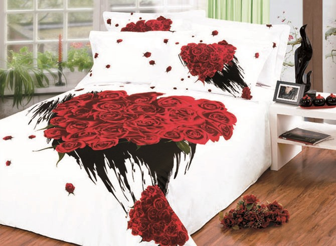 Fantastic Bunch Rose Printed Forever Love 4 Pieces 100% Cotton Bedding Sets(Free Shipping)