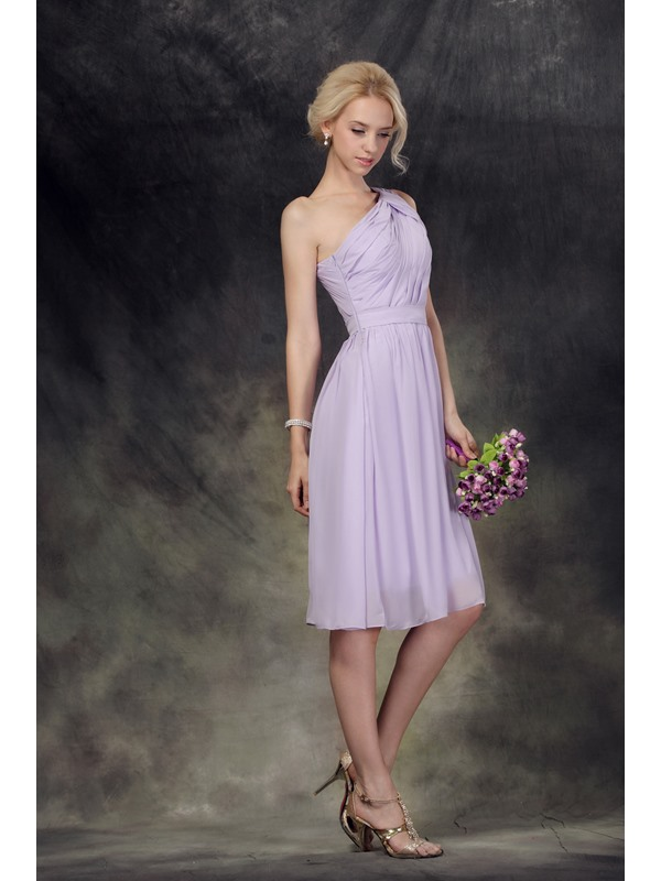 Terrific Ruched A-Line One-Shoulder Knee-Length Nastye's Bridesmaid/Homecoming Dress