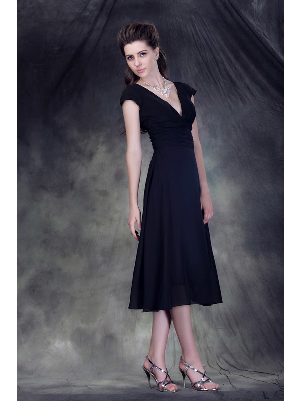 Elegant Black A-Line Tea-Length V-Neck Short Sleeves Anderai's Bridesmaid Dress