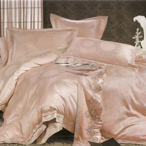 Silk-stocking 4 Piece Stain Drill Bedding Sets with Cameo Brown Jacquard