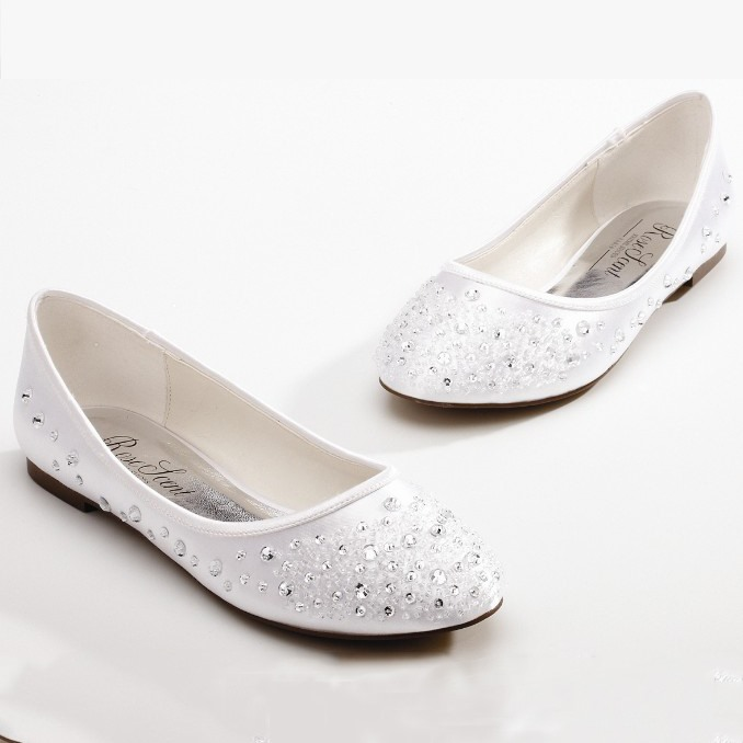 Rhinestone Satin Round Toe Flat Wedding Shoes