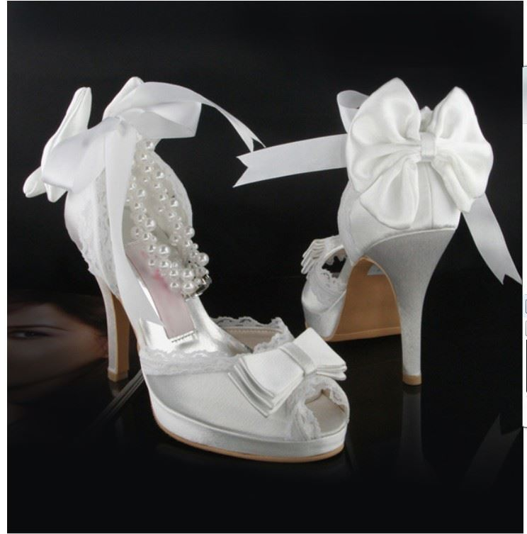 Satin Peep-Toe Wedding Shoes with Bows