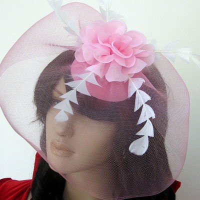 Pink Net with Feathers Wedding Bridal Hats