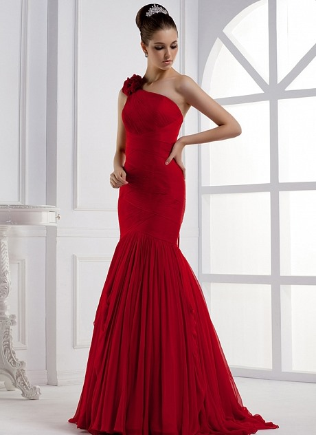 Mermaid One-Shoulder Flower Ruched Long Evening Dress